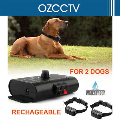 2-Dogs Collar Fence System Underground Fencing Rechargeable Electric Waterproof