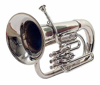 Euphonium Silver Chrome Polish 3 Valve euphonium  & Mouth Piece with Bag