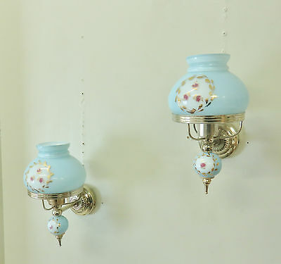 Pretty Pair Vintage French Rosebud Wall Lights Sconces Blue Glass Lamps 1970's