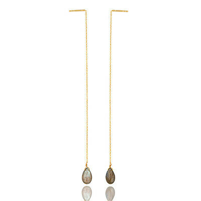 14K Gold Plated 925 Sterling Silver Natural Labradorite Dangle Earrings Jewelry