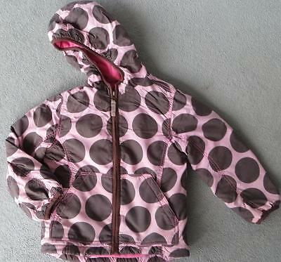Mini Boden Pink & Brown Spot Fleece Lined Girl's Coat With Hood 3 - 4 Yrs