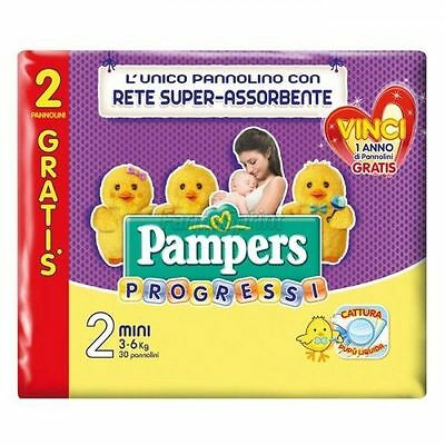 PAMPERS PROGRESSI MINI - TAGLIA 2 (3-6 kg) - 60 PANNOLINI - SUPER OFFERTA