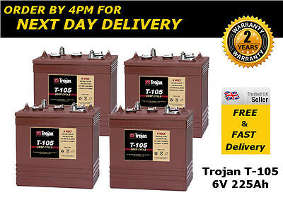 4x Trojan T105 Golf Cart / Buggy Battery 6V 225Ah - Great Price