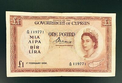 Cyprus £1 One Pound Bank Note 1956 Rare