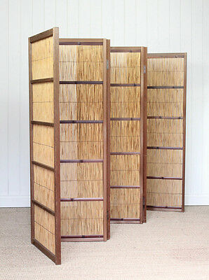 Vintage Japanese Bamboo Wooden Screen Room Divider Oriental