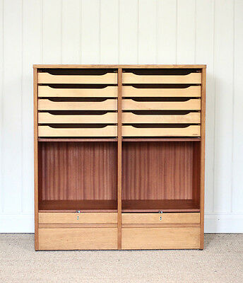 Vintage Danish Wooden Light Oak Double Tambour Filing Cabinet