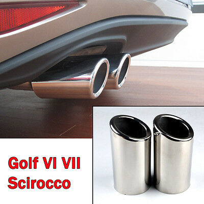 Stainless Steel Exhaust Tail pipe Trim Tip for VW Scirocco 2008-2014 Golf VI VII
