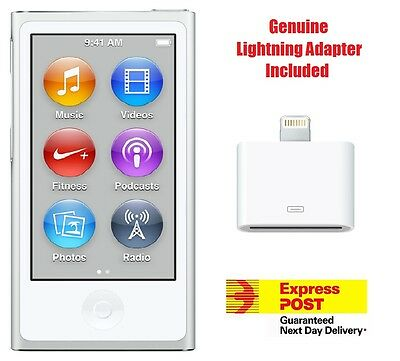 New Apple iPod nano 7th Generation Silver (16 GB)  + Genuine Lightning Adapter