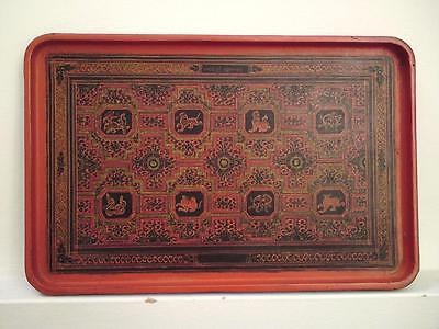 19th century Burmese red green lacquer papier-mache wood tray 8 animals zodiac