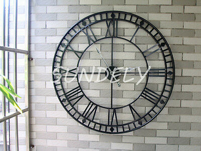 sundely Large Roman Numeral Wall Clock 80cm Black Metal Indoor Outdoor
