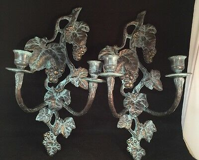 2 Solid Brass Candle Wall Sconces Verde Finish Grapes Vines Leaves Winery Garden