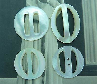 4 Tiny Vintage Mother Of Pearl Belt Buckles/Slides~For Dolls Clothes, Hats...