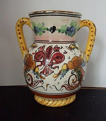 ANTIQUE  FAIENCE JUG  Signed by ARTIST  early ITALIAN Art Pottery BIZARRE DECOR
