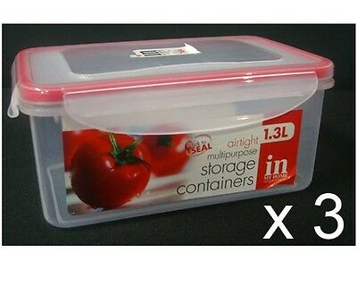 3 X Click To Seal Food Containers 1300ml Super