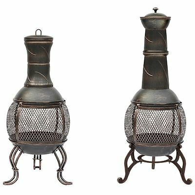 Chiminea Small/Large Steel Patio Outdoor Charcoal Fire Pit Heater Black & Gold
