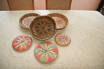 Original Antique Indian Straw Platter and Table Set