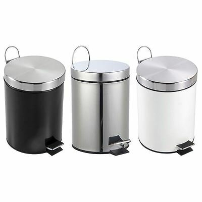 3 Litre Pedal Bin Bathroom Kitchen Stainless Steel Small Waste Disposal Recycle