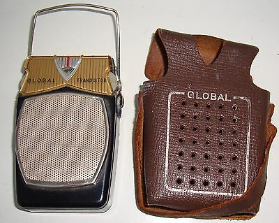 Vintage Global 6 Transistor Radio and Leather Case, Made In Japan, Circa 1959