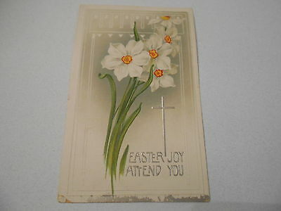 Postcard Easter Embossed Flowers Posted 1911 Divided Back Germany    5062