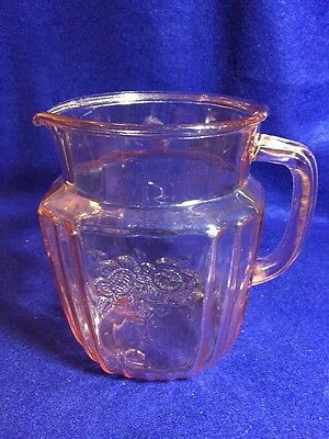 """Mayfair Open Rose Pink Depression Glass 6"""" Tall, 37 Oz. Pitcher"""