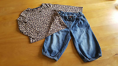 NEXT Girls Clothes 2 Piece Outfit Leopard Print Top & Harem Jeans Age 2-3 Years