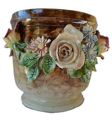 French Lonchamps Majolica Cache Pot - Centerpiece Jardiniere - Flowers