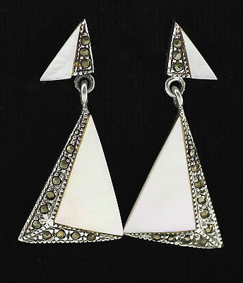 Art Deco Mother Of Pearl Marcasite Triangle Earrings 925 Sterling Silver