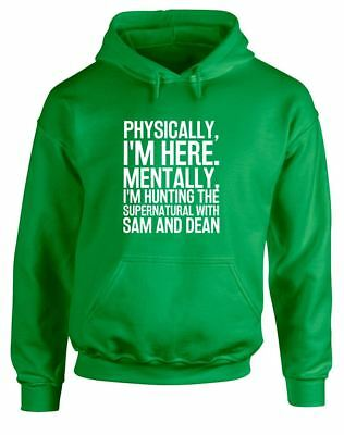 Hunting the Supernatural with Sam & Dean Slogan Printed Hoodie Unisex Hooded