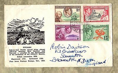 PITCAIRN ISLANDS Cover STAMPS Envelope PITCAIRN POST OFFICE George VI Era