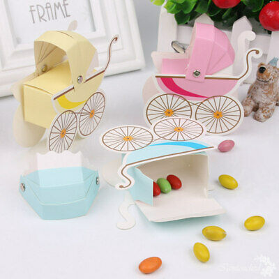 10x Baby Shower Candy Gift Carriage Boxes Boy Girl 1st Birthday Party Decor DIY