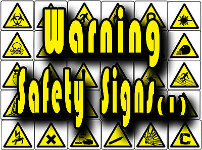 Yellow Warning safety signs, caution, slip, trip etc Vinyl wall stickers signs 1