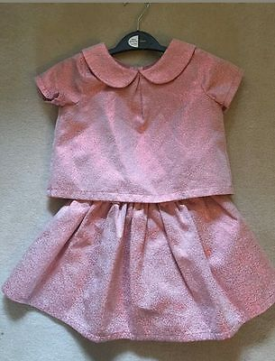 Next Girls Christmas Party Top And Skirt Set Pink Sparkle 2-3