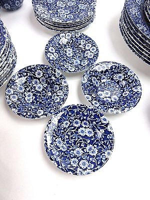 """Crownford China Calico Blue & White 4 Finger Bowls 4 1/2"""" Staffordshire England"""