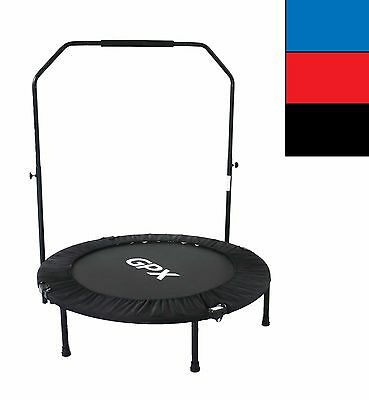 "Foldable Fitness Mini Trampoline Jumper Rebounder + Stability U Bar -36"" 40"" 48"""