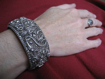 Antique Vtg Paranakan ? Silver Bangle Bracelet Straits French Indochina Chinese