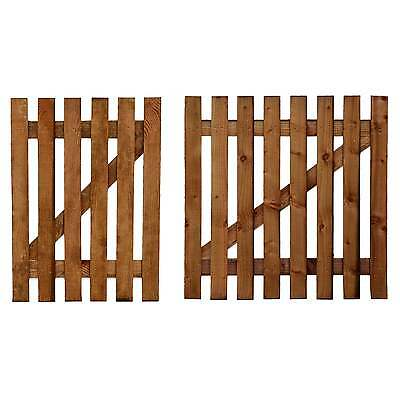Wooden Picket Garden Gate + Hinge & Latch - Treated Picket Fence Gate All Sizes