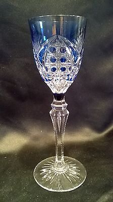 Val Saint Lambert Blue Cut To Clear Wine Glass Richepin Vintage Signed