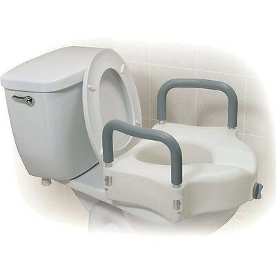 "2 In 1 Raised Toilet Seat raiser With Removable Arms 5"" High"