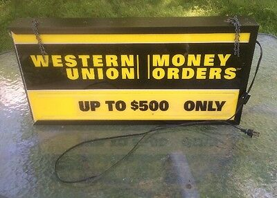 Western Union Money Orders Lighted Display Sign Double Sided