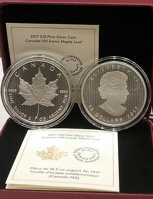 2017 2OZ Iconic Maple Leaf Canada 150th Birthday $10 Pure Silver Coin