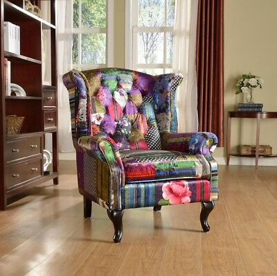 Anna Scroll Chesterfield Wing back Luxury Patchwork Fabric Chair