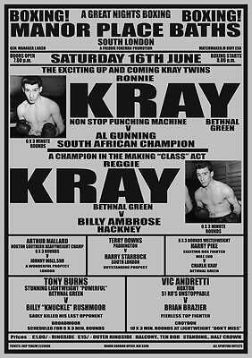 Krays Ron Reg Kray Boxing Poster at MANOR PLACE BATHS SOUTH LONDON 1953
