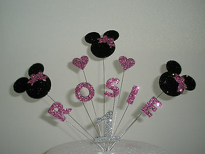 Personalised Minnie Mouse Birthday Cake Topper/Decoration - Any Name/Age
