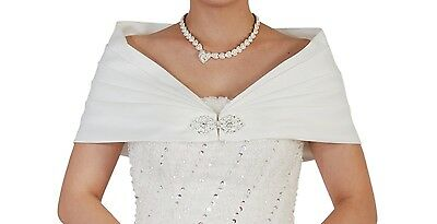 New Bridal Ivory Satin Bolero Shawl Shrug One Size