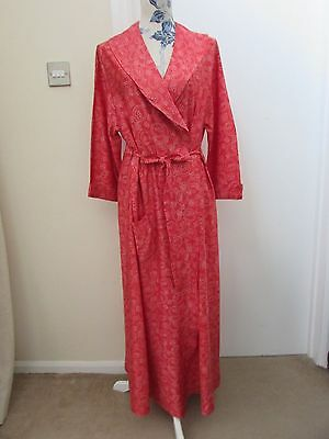 Ladies True Vintage Long Red Dressing Gown - size 12/14