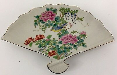 "Japanese Fine China Trinket Ring Dish Tray Fan Bird in Flowers 10"" span across"