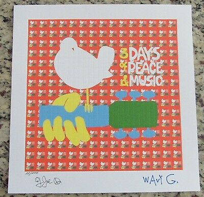 """BLOTTER ART """"WOODSTOCK"""" SIGNED AND NUMBERED by COUNTRY JOE & WAVY GRAVY"""
