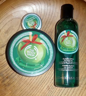 The Body Shop Glazed Apple Set Body Butter,Shower Gel and Lip Balm!