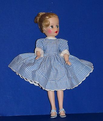 1950s Cosmopolitan Miss Ginger Tagged Blue Gingham Check Dress! DRESS ONLY!