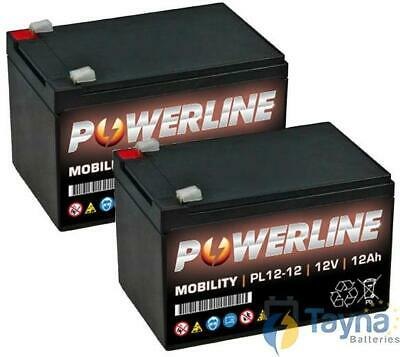 paar POWERLINE 12V 12Ah Sealed Lead Acid AGM scootmobiel Battery ES12 12